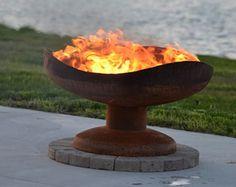 Fogón de duna - tazón de fuego de acero de arte funcional para su patio o espacio al aire libre