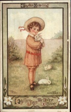 Easter Sweet Little Boy w/ Rabbits - Mary LaFarge Russell c1910 Postcard | eBay