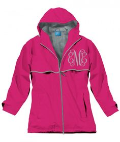 Pea Pod Paper and Gifts Monogrammed Hot Pink Rain Jacket - Clothing - Initial Me! - NEW!