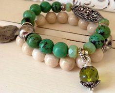 Turquesa pulsera elástica Vintage verde por CountryChicCharms