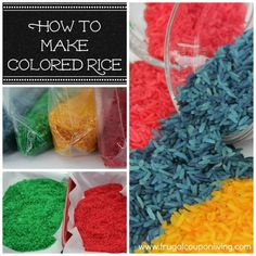 Colored Rice Recipe and Tutorial #DIY #Pinterest #Craft http://www.frugalcouponliving.com/2013/10/28/colored-rice-recipe-tutorial-diy-pinterest-craft/