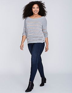 Shadow stripes: sweater (and metallic) edition. We took a cozy sweater and made it even better by weaving in some sheer, metallic stripes. Ribbed trim at neckline, sleeves and hem. lanebryant.com