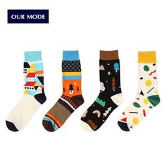 OUR MODE Creative house patterns long cotton socks for women brand dress socks fashion accessories 4pairs/lot