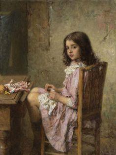 """The Little Seamstress,"" 1910 -- by Alexei Harlamoff (Russian, 1840–1925)"
