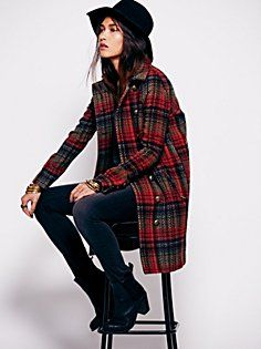 Plaid Cacoon Wool Coat in jackets-outerwear