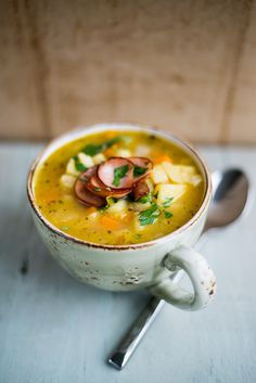 Slow-cooker German potato soup (kartoffelsuppe)