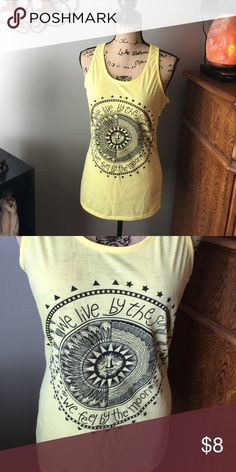 New Live By the Sun Feel by the Moon Tank Sz M Yellow racerback tank. NWT. Marked L but runs a size small so will fit as a medium better. Tops Tank Tops