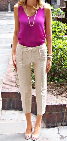 Try pairing a bright scoop neck tank with your favorite trouser for a classy spring look!
