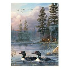 Rivers Edge 'Autumn Air Loons' Painting Print on Wrapped Canvas
