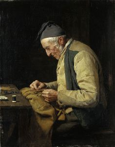 Anker, Albert - 1894 The Village Tailor (Kunstmuseum Solothurn, Switzerland) Images Vintage, Sewing Art, Art Database, Norman Rockwell, Schneider, Beautiful Paintings, Oeuvre D'art, Art Day, Les Oeuvres