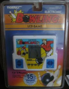 BOWLING - Electronic Handheld BOWLING LCD Game by Tiger. $22.00. Realistic scoring and High score retained. Uses 2 AA Batteries. Throw straight or curve. 1 or 2 players. Electronic Handheld BOWLING LCD Game