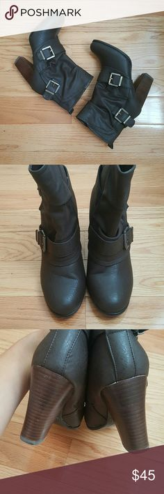 """Fergalicious 'Negotiate' Midi Boots NWOT Brown faux leather boots with buckle detail and rounded toe. These zip up and will come up just a bit above your ankles. Brand new without box or tags. Approximately 4"""" heel. Fergalicious Shoes Heeled Boots"""