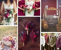 Moodboard fall / autumn wedding in bordeaux / Farbschema für Hochzeit im Herbst