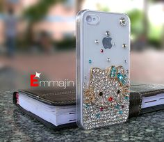 Crystal iPhone 4 case bling cat  iphone 4S case  by Emmajins, $19.99