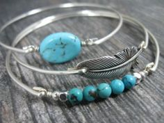 Silver Feather and Turquoise Bangle bracelet Set - :