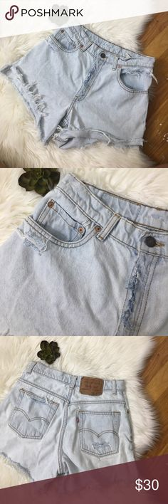 """Vintage High-waisted Levi Shorts Adorable vintage high waisted shorts. Light wash, classic design. Smallest part of the waist measures 15"""" - 10"""" rise. 14"""" Length unfolded. Levi's Shorts Jean Shorts"""