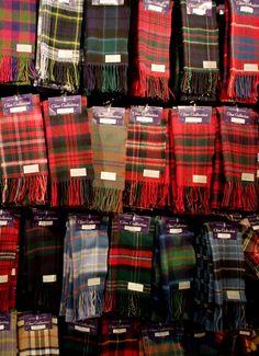 Selection of Tartan Scarves    Tartan on display, Edinburgh, Scotland    Tartan patterns on display at the Edinburgh Castle gift shop