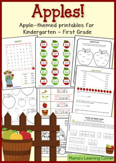 The 17 worksheets in this FREE Apples printable packet each have an apple theme. In this worksheet set from Mama's L