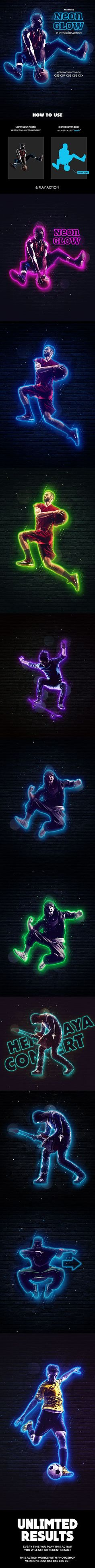 Neon Glow Photoshop Action Animated — Photoshop ATN #action #sparks • Available here ➝ https://graphicriver.net/item/neon-glow-photoshop-action-animated/21048909?ref=pxcr