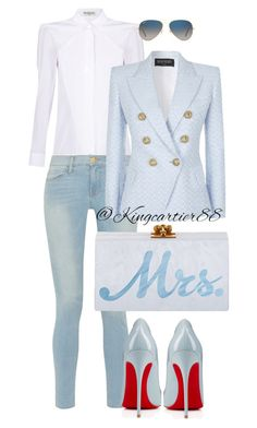 """Excuse Me Mrs."" by jusgram88 ❤ liked on Polyvore featuring Balenciaga, Frame Denim, Balmain, Christian Louboutin, Edie Parker and Ray-Ban"