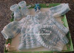 MT4372 <br>Conjuntinho em tricot com lã Carinho da Pingouin <br>Tamanho 3 meses <br>pronta entrega