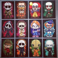 """""""Tis the Season to be Screamin'!"""" Come by my table a… Monster Mash Bags! """"Tis the Season to be Screamin'!"""" Come by my table at this weekend and grab a bag for yourself or for the Horror movie fan in your life! Horror Movie Tattoos, Horror Movie Characters, Horror Villains, Horror Cartoon, Horror Icons, Halloween Horror, Halloween Art, Deco Cinema, Lord Mesa Art"""