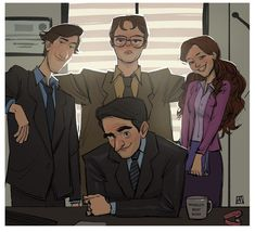 The Office artwork by Abdullah Moatasem : DunderMifflin Office Artwork, Office Wallpaper, The Office Characters, Cartoon Characters, The Office Show, The Office Dwight, Office Jokes, Office Fan, Office Birthday