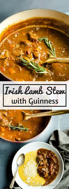 Irish Guinness Lamb Stew In this robust traditional Irish stew, that is a pub classic, lamb chunks and vegetables are braised in a broth that is spiked with Guinness beer that brings out that dark and robust color and flavor in this stew. St Patricks Day #NiceLambRecipes