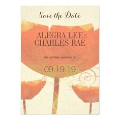 Modern Coral Poppy Wedding Save the Date Personalized Invitation