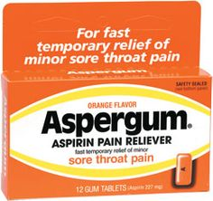 Chewing ASPERGUM to get rid of a sore throat.