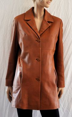 Wonderful 100% Brown Leather Heavy Jacket Parka Coat RABERG Brand Giacca…
