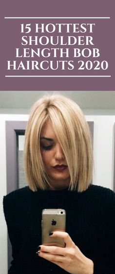 15 Hottest Shoulder Length Bob Haircuts 2020 - All For Hairstyles Shoulder Length Hair Balayage, Shoulder Length Hair With Bangs, Layered Haircuts Shoulder Length, Above Shoulder Hair, Shoulder Length Hairstyles, Shoulder Haircut, Long Bob Hairstyles, Medium Bob Haircuts, Health