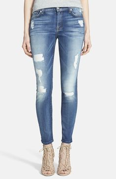 7 For All Mankind® Faded Skinny Ankle Jeans (Distressed Authentic Light) at Nordstrom.com.