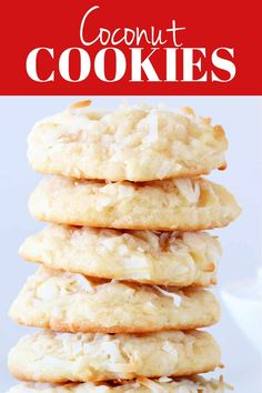 These Coconut Cookies are thick and chewy and packed with sweet coconut! This cookie will be a favorite among coconut fans. #cookies #coconut #dessert #baking Bar Cookies, Cupcake Cookies, Cupcakes, Best Dessert Recipes, No Bake Desserts, Baking Recipes, Cookie Recipes, Best Sweets, Cookie Calories