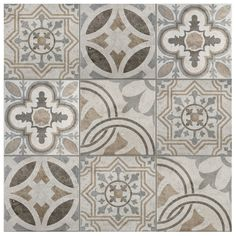 The ardisana ceramic field tile in jet mix offers a random variation of four muted brown and gray patterns. Each matte tile features a distressed, weathered look including slight chemical-splashed spotting and splashes of glossy glazing which reflects light. This semi-vitreous Spanish tile offers a mid-level durability rating for many rooms in the home.