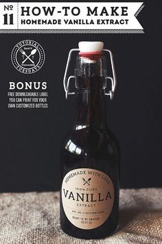Printable label / How-to Make Homemade Vanilla Extract by Tasty Yummies, via Flickr