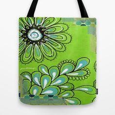Green Flower Tote Bag https://www.facebook.com/juliemstudios