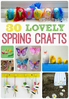 30 Lovely Spring Crafts for kids.  These are also  great preschool activities to practice fine motor skills, sensory exploration, and more.