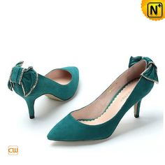 Designer Leather High Heels Women's Classics Heels Bow Green Leather Dress Shoes CW275226 $165.67 - www.cwmalls.com