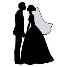 This romantic Bride and Groom Silhouette is an easy way to add some elegance to your wedding creations! Bride And Groom Silhouette, Couple Silhouette, Wedding Silhouette, Silhouette Design, Silhouette Cameo, Wedding Drawing, Wedding Dress Sketches, Wedding Art, Wedding Engagement