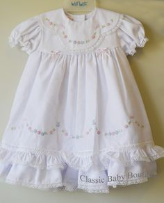 a9b18159a Will'beth Girls White Color Heirloom Lace Frilly Dress with Bloomers 12 18  Months