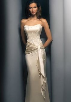 Destination Wedding Dress: Demetrios Destination Romance Wedding Dress Style Satin charmeuse straple sheath with beaded appliques, band with sash around waist-line. Wedding Dress Styles, Bridal Dresses, Prom Dresses, Formal Dresses, Wedding Gowns, Champagne Wedding Dresses, Silky Wedding Dress, Pageant Gowns, Modest Wedding