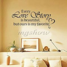 Every Love Story is Beautiful Decor Removable Vinyl Wall Decal Quote Sticker Art #UnbrandedGeneric #ArtDecor