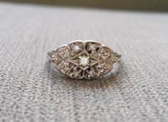Diamond Antique Engagement Ring Vintage scalloped by PenelliBelle