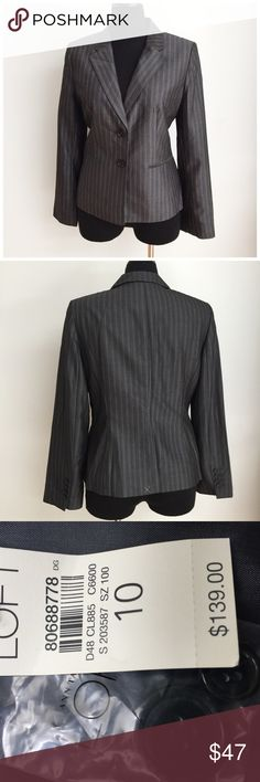 NWT LOFT LINED PINSTRIPE  BLAZER Blazer is new with tags without any defects. The outer fabric is 53% rayon and 47% wool. The lining is 100% acetate. The bust measurements laying flat is approximately 20 inches from armpit to armpit. The length from shoulder to hem is approximately 25 inches. LOFT Jackets & Coats Blazers