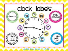 Help your students master telling time with these colorful clock labels! Liven up your classroom clock with these eye catching labels. Labels are included in four color themes to match my most popular classroom decor sets: Chevron, Bright Chevron, Bright Polka Dot, and the Black and White Theme. $