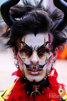 ◀One of my masks painted by the talented ▶ ◀Spend some of that Christmas/Solstice money on new art! Male Makeup, Clown Makeup, Fx Makeup, Makeup Inspo, Makeup Inspiration, Halloween Kostüm, Halloween Face Makeup, Drag King Makeup, Horror Make-up