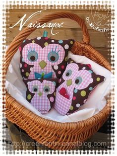 These owl stuffed animals can be sewn with a simple little ribbon loop at the top of their head so they can hang and become a mobile for beds or car seats.