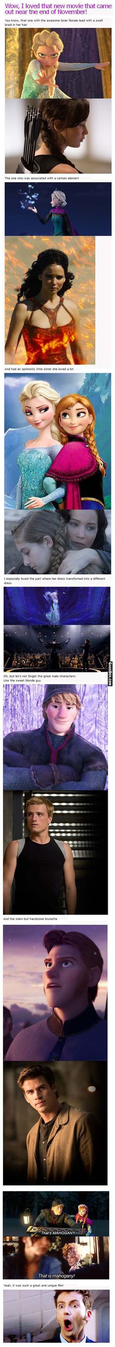 Disney Frozen Movie Vs Hunger Games - two great movies for sisters! Oh goodness..
