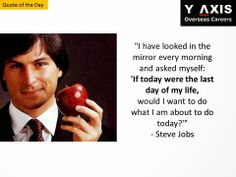 """Quote of the Day: """"I have looked in the mirror every morning and asked myself: 'If today were the last day of my life, would I want to do what I am about to do today?'"""" - Steve Jobs"""